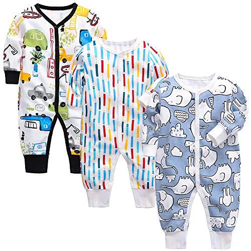 amropi Bebé Recién Nacido Niños Mono Peleles Pijama Mameluco de Manga Larga Pack de 3, 9-12 Meses,Negro/Blanco/Azul