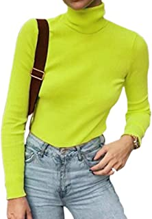 Women Long Sleeve Knit Ribbed Turtleneck Layer Tops Neon Green Elastic Shirt Pullovers Slim Fit Sweater