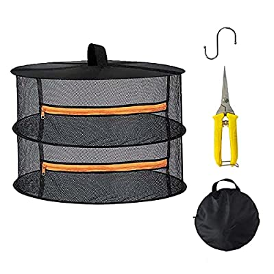 Yorsvueghe 2ft 2 Layer Herb Drying Rack Hanging Mesh Dry Net W/Orange Zipper and Scissor for Hydroponic Plant Herb and Bud