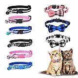 WD&CD 9 Piezas Collares para Gatos, 3 Collar para Gato con Pajarita & Cascabel, 3 Collar Reflectante Gatos, 3 Cuello Estampado Cierre para Gatos, Collar Gato Personalizado, Negro, Azul, Rosa