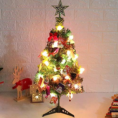 KEAIDO Juego de árbol de Navidad de mesa de 60 cm, con luces LED preiluminadas para árbol de Navidad con cadena de luz, adornos colgantes, conos de pino, decoración de estrellas