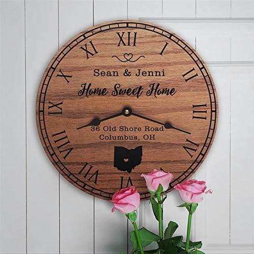 Reloj de pared redondo de madera de Ohio, diseño de mapa de estado en oh buckeye Sweet Street address12 pulgadas redondo de madera colgante para sala de estar, cocina, dormitorio y oficina.