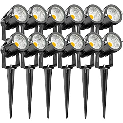 LEDVIE 15W Low Voltage Landscape Lights, 12 Pack LED Landscape Lighting Outdoor 12V Warm White LED Landscape Lights Waterproof Garden Pathway Lights Wall Tree Flag Spotlight with Spike Stand