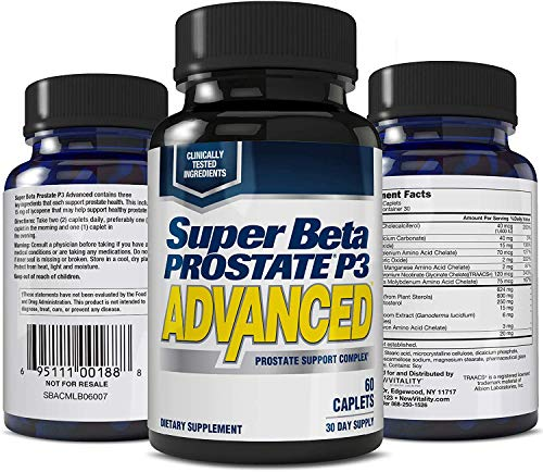 Super Beta Prostate P3 Advanced Prostate Supplement for Men – Reduce Bathroom Trips, Promote Sleep, Support Urinary Health & Bladder Emptying. Beta-Sitosterol, not Saw Palmetto. (60 Caplets, 1-Bottle)