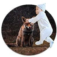 エリアラグ軽量 秋のオオカミの森 フロアマットソフトカーペット直径31.5インチホームリビングダイニングルームベッドルーム