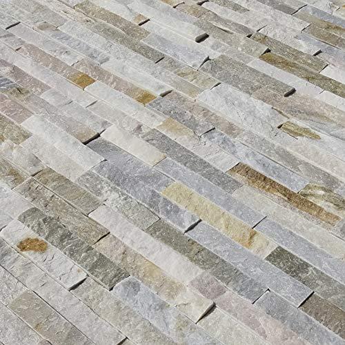 HORI® Wandverkleidung Wandpaneele Naturstein Stein Optik 3D Weiß Beige I Modell: Titlis I Inhalt: 7 Stk. 550 x 150 mm
