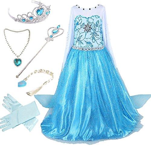 Canberries  Mädchen Prinzessin Schneeflocke Kleid Kostüme, #02 Kleid und Zubehör, Gr. 116 (Herstellergröße- 120cm)