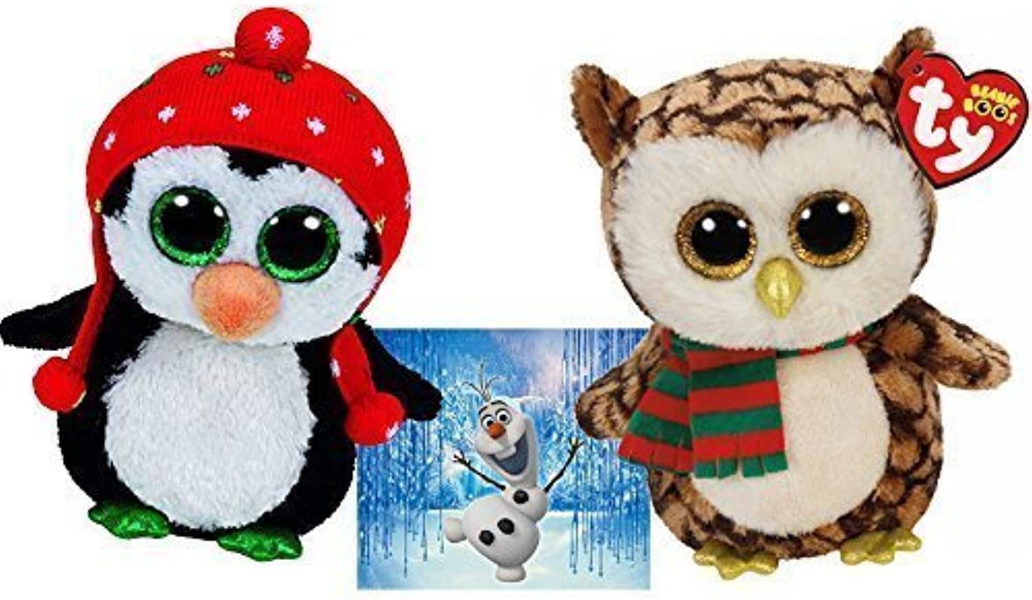 Ty Beanie Boos WISE Owl with Scarf and FREEZE Penguin with Knit Hat 6  Set of 2 Winter Holiday Christmas 2015 toys with Bonus Frozen Olaf Sticker