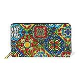 WowPrint - Cartera de piel de flores vintage de gran capacidad, bolsa de embrague para almacenamiento de teléfono para viajes de compras