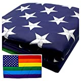 VSVO Rainbow USA Gay Flag 3x5 ft - US - American Gay Pride Flags - Embroidered Stars - Sewn Stripes - Brass Grommets - UV Protection – LGBT Outdoor Banner 3' x 5'