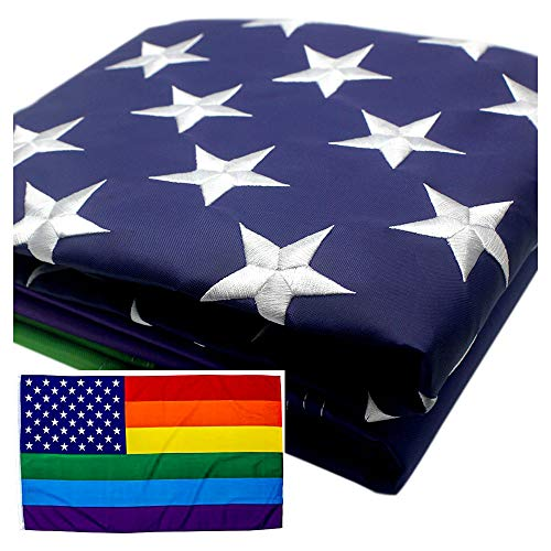 VSVO Rainbow USA Gay Flag 3x5 ft - US - American Gay Pride Flags - Embroidered Stars - Sewn Stripes - Brass Grommets - UV Protection – LGBT Outdoor Banner 3