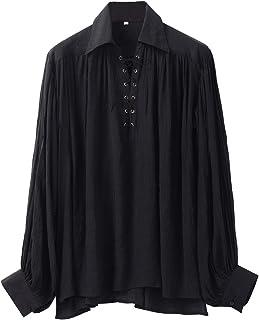 maylynn Bianco Camicia da Pirata Medievale con Volant in Cotone XXL//XXXL