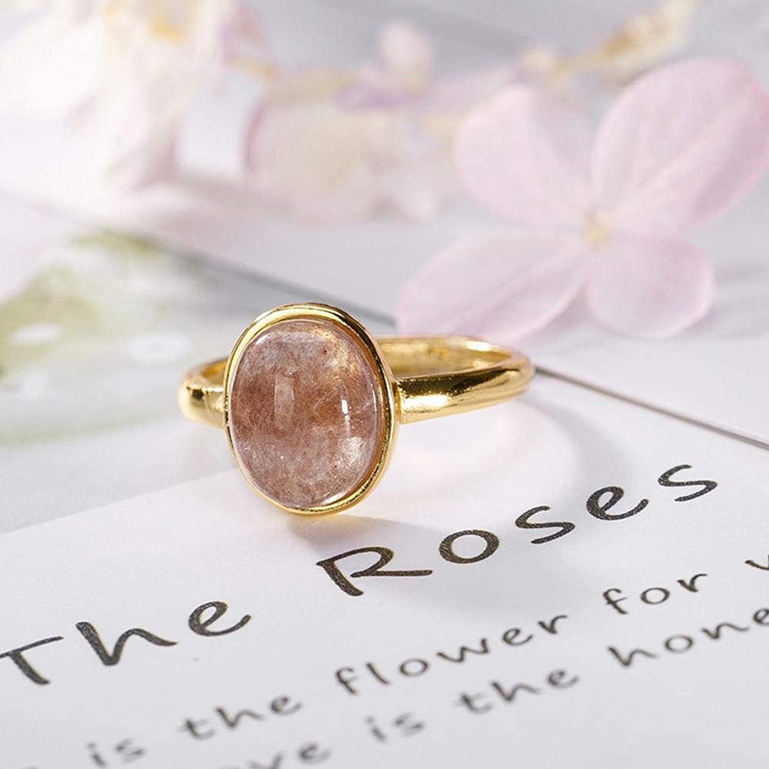 DTZH Rings Jewellery Ring S925 Sterling Silver goldPlated Natural Strawberry Crystal Lady Ring Gift to Dear People