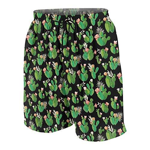 Popsastaresa Herren Beiläufig Boardshorts,Kaktus,Schnelltrocknend Badehose Strandkleidung Sportbekleidung mit Mesh-Futter