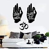 Manos hindúes Símbolo de Om Citas de yoga hindú Calcomanías de pared de vinilo Decoración para el hogar Arte Mural Pegatinas de pared extraíbles 58X65 cm