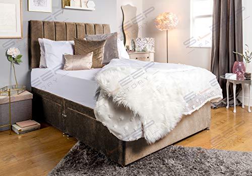 Sleep Factory's Brown Velveto Divan Bed Set & Memory Foam Mattress (6.0FT (Super King), 2 Drawers (Foot End))
