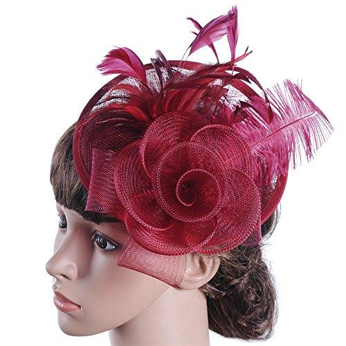 Allibuyah Bandeau Chapeau de Cocktail, Fascinator Hat élégant des Femmes Pince à Cheveux de mariée Plume Accessoires Cocktail Royal Ascot (Couleur : Violet)