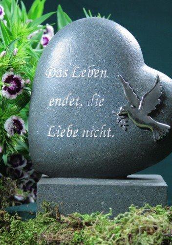 Plaque funéraire Cœur avec colombe et inscription, anthracite