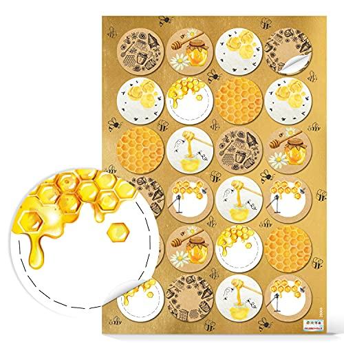 Logbuch-Verlag 96 pegatinas de miel redondas autoadhesivas 4 cm – Pegatinas para vasos de miel para escribir – Pegatinas para miel