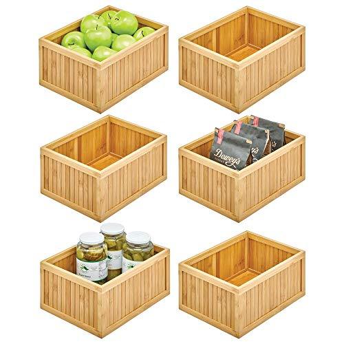 mDesign Cajas organizadoras para la cocina – Cajón organizador de bambú ecológico – Versátil caja de madera para guardar alimentos, conservas, etc. – Juego de 6 – color natural