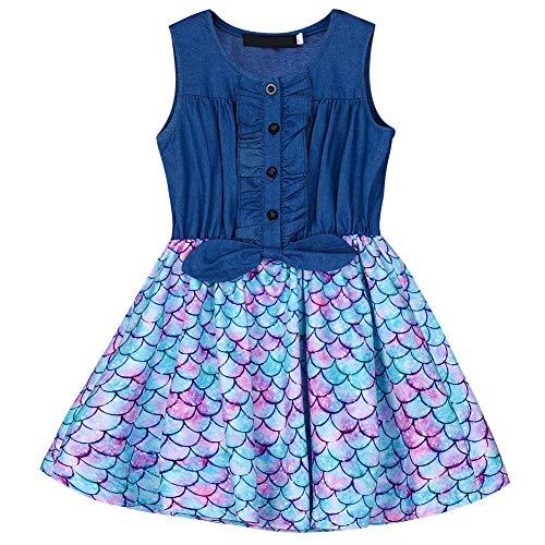 Fancyqube Girl's Summer Dress Denim Sleeveless Bowknot Ruffled Button Stitching Sundress Fish Scale Mermaid Print Tutu Skirts Multicolor 6-7T