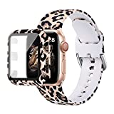MNBVCXZ Compatible with Apple Watch Band 40mm 38mm 42mm 44mm with Apple Watch Screen Protector Case,iWatch SeriesSE 6 5 4 3 Silicone Leopard Print Sport Strap Band for Women Girl (Black Leopard 38mm)