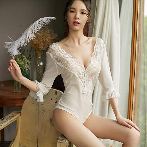 Gdofkh All-in-One sexy Wimpern Spitze sexy weißen Pyjama sexy Dessous Uniform Set Neckholder Bodysuit