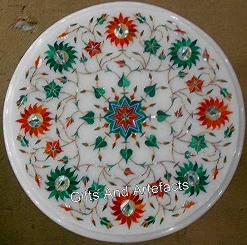 13 x 13 pulgadas redonda de mármol blanco mesa auxiliar semi preciosa piedra con incrustaciones de mesa de café con