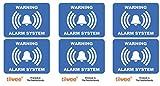 Tiiwee Etiquetas de Alarma de Seguridad para el Hogar - Azul - Doble protección UV - Extra laminadas - tamaño 70mm x 50mm - Exterior - Set de 6 etiquetas