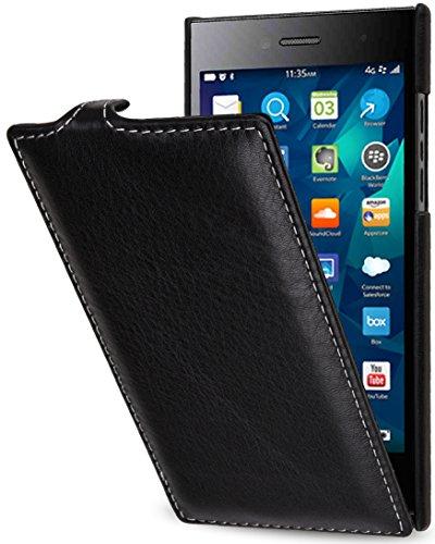 StilGut UltraSlim Hülle, Hülle Tasche aus Leder für BlackBerry Leap, Schwarz Nappa