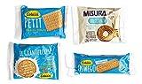 Colussi y Misura: galletas en paquetes individuales, 120 piezas surtidas en total en 5 tipos de porciones individuales. Embalaje Seguro y Resistente a los Golpes. Producto Tradicional Italiano