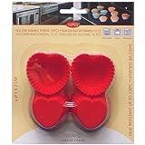 12 pcs Mini Muffin Torta forma cuore in silicone - stampo per Muffin formine, 1915 - 1918 rosso