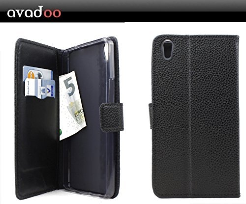 avadoo® Medion Life S5504 Flip Case Cover Tasche Schwarz mit Magnetverschluss & Dualnaht als Cover Tasche Hülle