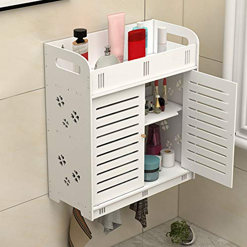Estink Armario de baño suspendido de pared, armario para ahorrar espacio, blanco, con 2 puertas y estante, no perforar, impermeable, a prueba de humedad, para el baño, 37,5 x 17,2 x 43 cm