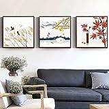 Leinwandbilder Chinesische Vintage Flagge Ahorn Tempel BrüCke Wandkunst Bilder FüR Wohnzimmer KüChe Elegante Wohnkultur-40x40cmx3 Rahmenlos