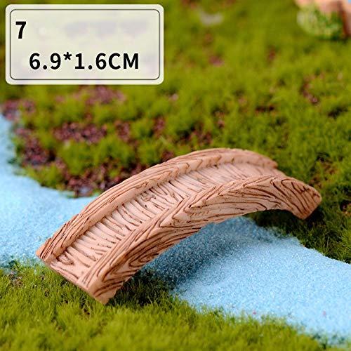 fengxiaoming Mini-Leuchtturm Wasserbrunnen-Brücke Statuette Miniaturhandwerk Feengarten DIY dekorative Gartendekoration (Farbe: Brücke)