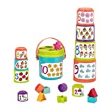 Battat - Sort & Stack - Educational Stacking Cups with Numbers & Shapes for Toddlers