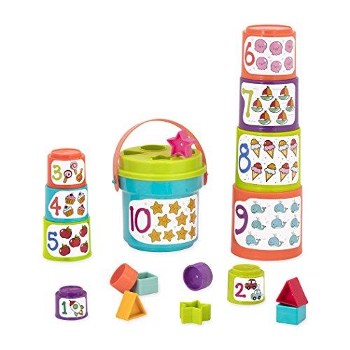 Battat - Sort & Stack jouet éducatif – Gobelets empilables avec chiffres et formes – Pour enfants de 18 mois et plus (19 pièces)