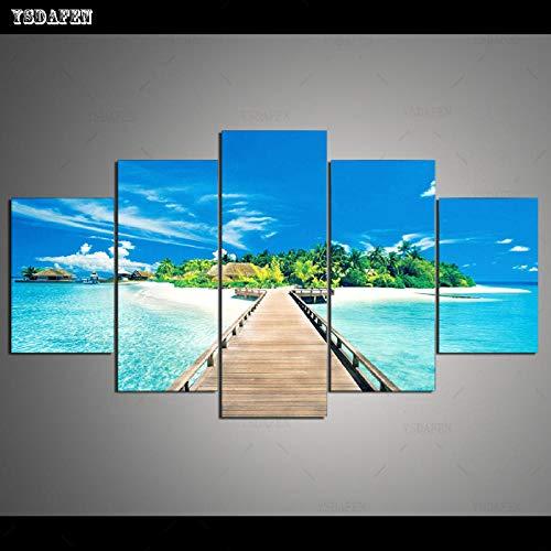HTBYTXZ 5 Piezas de Lienzo Mural Maldivas Pintura de Paisaje Sala de Estar módulo de Lienzo Mural Mural 30x40 30x60 30x80cm sin Marco