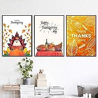 幸せな感謝祭のカボチャ松の実キャンバス絵画家の装飾リビングルームキッチン漫画アートポスターお祝いプリント壁画40X50cmx2フレームなし