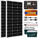 ECO-WORTHY 200W 0.8KWH/Day 12V Off Grid Complete Solar Power System Kit with Battery&Inverter: 2x100W Solar Panel+ 20A LCD Charge...