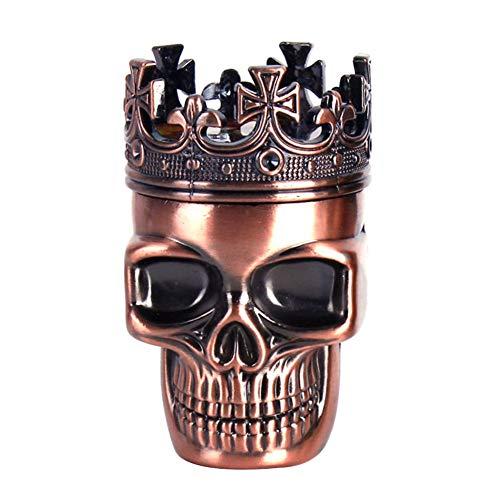 Echaprey 3 in 1 Metal Spice Herb Skull Grinder Tobacco Herb Pepper Mills with Pollen Catcher Sharp (Red Bronze)