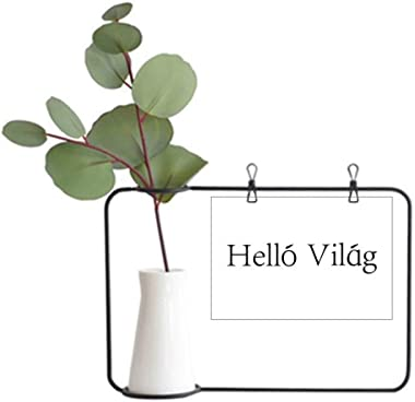 DIYthinker Hello World Hungarian Metal Picture Frame Ceramic Vase Decor
