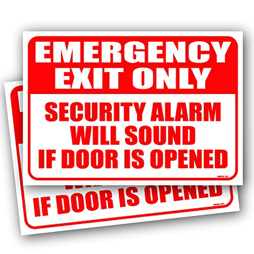 (2 Pack) Emergency Exit Only Alarm Will Sound Sign 10'x7' 4MIL UV Laminated Emergency Exit Only Door Sign Self Adhesive Sticker Decal