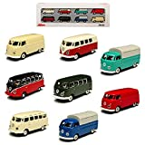 8er Set Volkwagen T1 Transporter Samba Bully Bus 1950-1967 H0 1/87 Schuco Modell Auto mit individiuellem Wunschkennzeichen