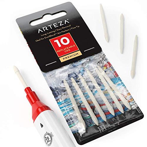 Arteza EverBlend Vervangbare Tips voor Markers, 10 Fine Tip Spare Nibs voor Kleurplaten, Schilderijen, Schetsen, Schrijven en Tekenen