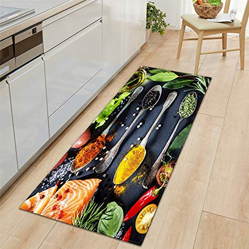 Morbuy Area Rug Non-Slip Large Door Mat Modern Personality 3D Spice Printed Carpet Floor Mat Stair Pads for Kitchen Living Room Bedroom Hallway Bathroom (salmon,40x120cm)
