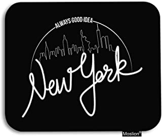 Moslion New York Mouse Pad Brooklyn City Buildings Skyscraper Statue of Liberty Gaming Mouse Pad Rubber Large Mousepad for Computer Desk Laptop Office Work 7.9x9.5 Inch Black White