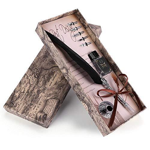 VBESTLIFE Klassische Retro Füllfederhalter,Feder Dip Pen Schreibfeder,Geschenkbox für Weihnachten/Valentine oder für Freund, Familienmitglieder und Lehrer.(Schwarz)