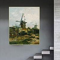 ヴァンゴッホ《モンマルトルの風車、1886年》キャンバス油絵アートワーク美的額縁壁掛け家の装飾80x110cm(32x43in)内枠